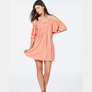 NWT Justfab Peach Cold Shoulder Slip Dress